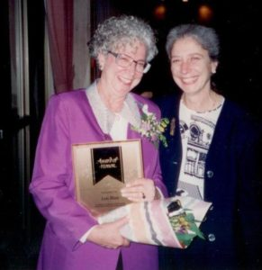 Lois receiving RNABC Award from President Bernadet Ratsoy, Fonds 23, Series 6, PH-1360